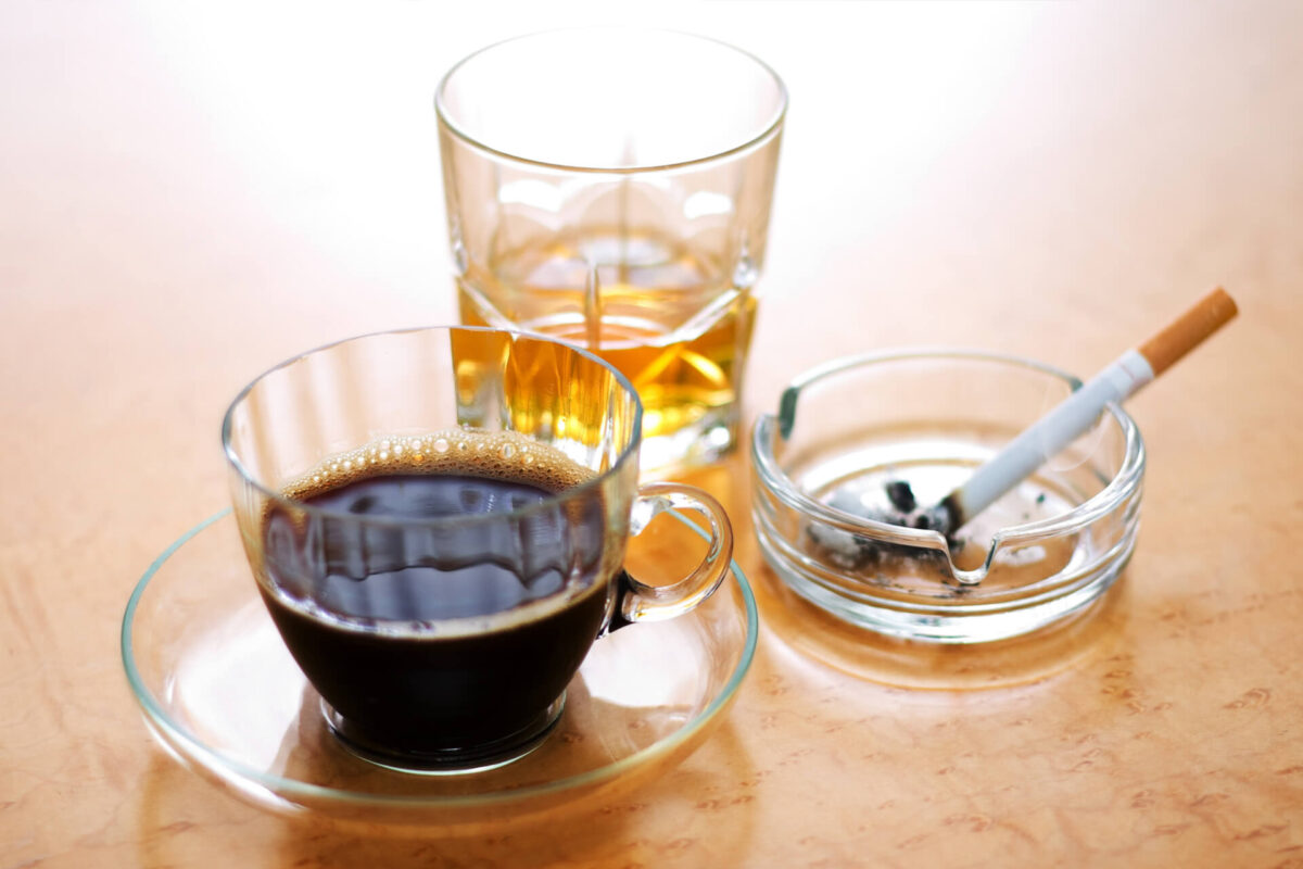 Cut back on alcohol and caffeine